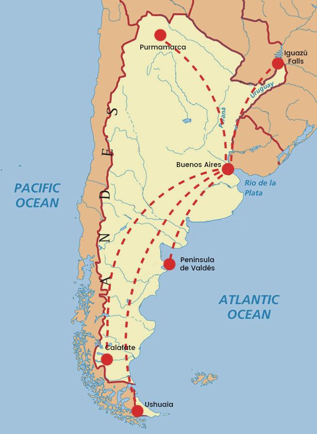 Argentina Map Favorite Cities